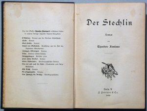 """Titelblatt der esten Buchausgabe """"Der Stechlin"""" von Theodor Fontane (1899)"""